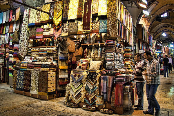 Turkey Print featuring the photograph The Grand Bazaar In Istanbul Turkey by David Smith