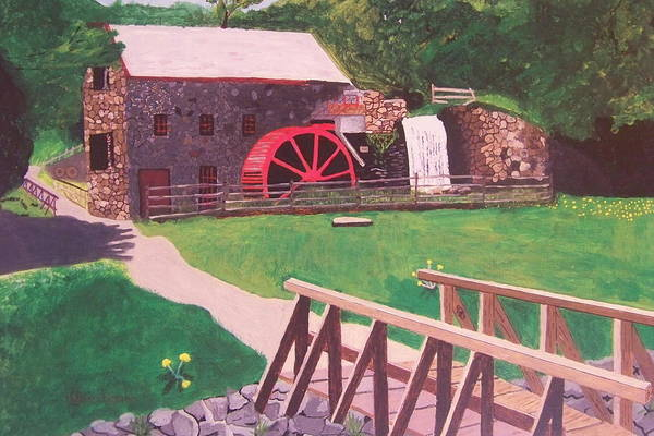 Gristmill Art Print featuring the painting The Gristmill At Wayside Inn by William Demboski