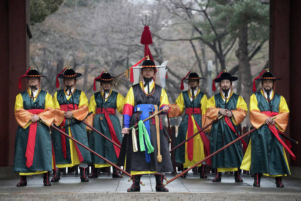 Asia Art Print featuring the photograph The Guards Of Seoul. by Peteris Vaivars