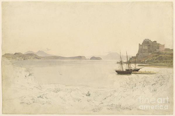 Art Print featuring the drawing The Gulf Of Pozzuoli by Johann Heinrich Schilbach
