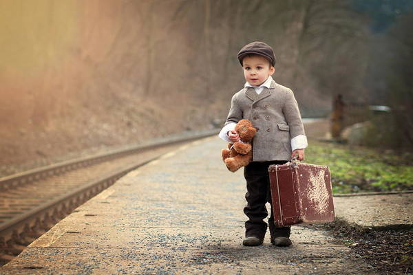 Boy Art Print featuring the photograph The Little Traveler by Tatyana Tomsickova