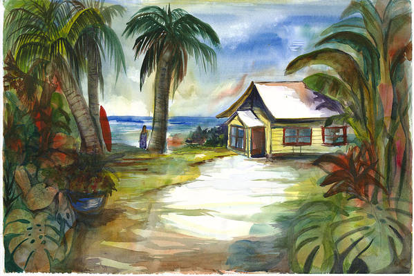 Yellow Beach Cottage Art Print featuring the painting The Little Yellow Beach House by Ileana Carreno