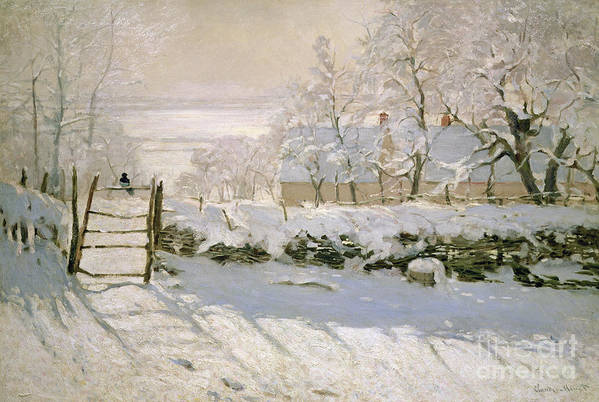 The Art Print featuring the painting The Magpie by Claude Monet