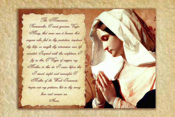 photograph relating to Memorare Prayer Printable titled The Memorare Artwork Print