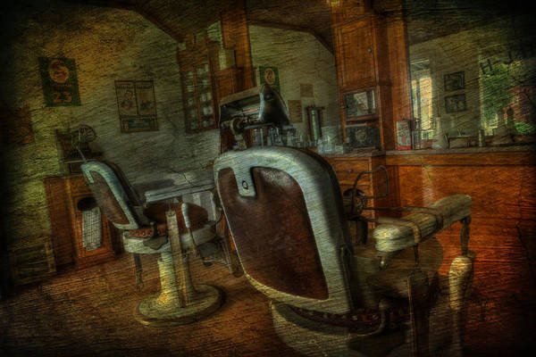 Lee Dos Santos Art Print featuring the photograph The Old Barbershop - Vintage - Nostalgia by Lee Dos Santos
