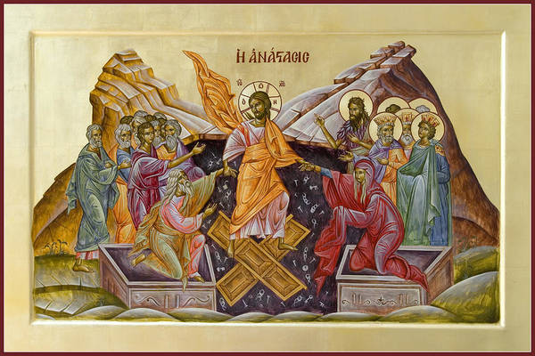 Icon Art Print featuring the painting The Resurrection Of Christ by Julia Bridget Hayes