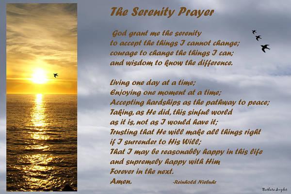 Barbara Snyder Art Print featuring the digital art The Serenity Prayer by Barbara Snyder