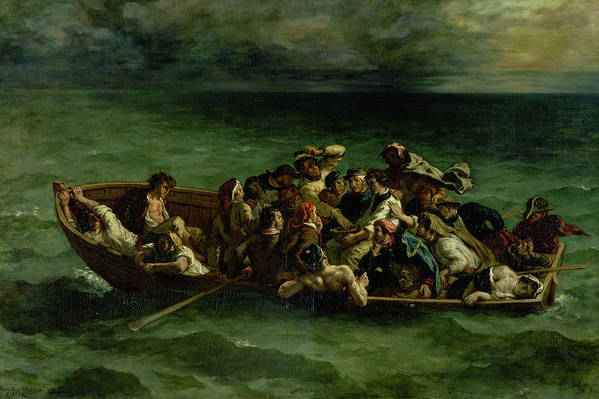 The Art Print featuring the painting The Shipwreck Of Don Juan by Ferdinand Victor Eugene Delacroix