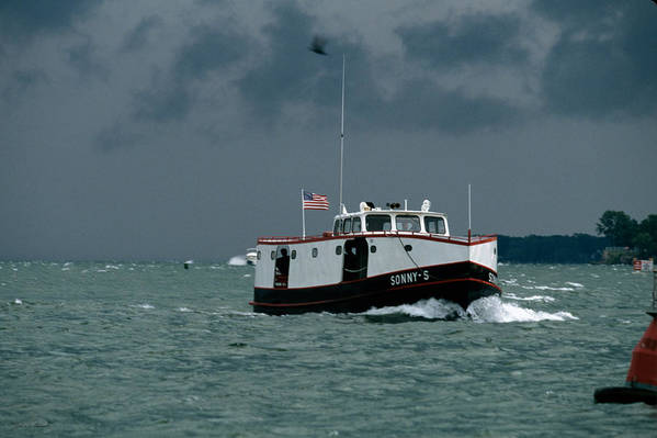 Ferry Art Print featuring the photograph The Sonny S Returning From Lonz Winery On Middle Bass Island by John Harmon