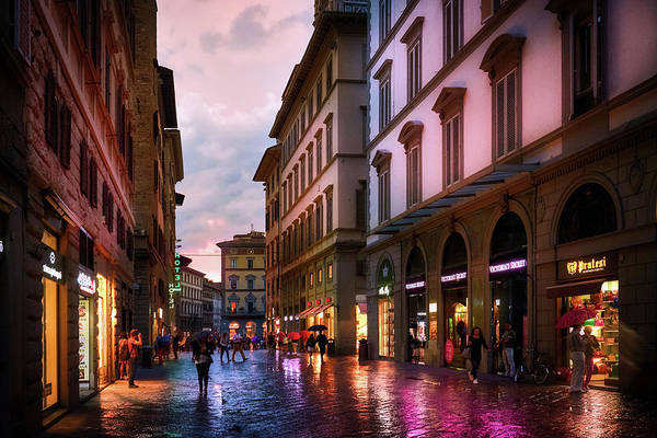 Rainy day on the streets of Florence