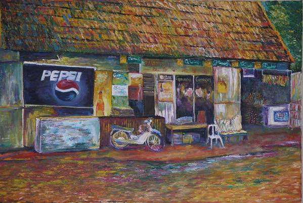 Landscape Art Print featuring the painting The Sundry Store At Fraiser's Hill by Wendy Chua