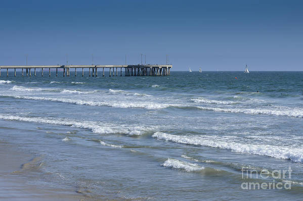 Waves Art Print featuring the photograph The Venice Pier 1 by Kevin McCall