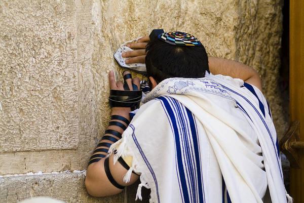 Jerusalem Art Print featuring the photograph The Western Wall, Jewish Man Wearing by Richard Nowitz