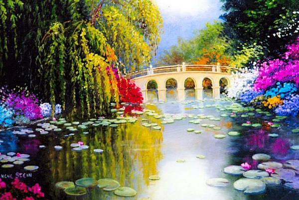 Azaleas In Bloom Art Print featuring the digital art The White Bridge by Jeanene Stein