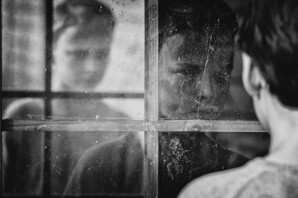 Boy Art Print featuring the photograph The Window by Mirjam Delrue