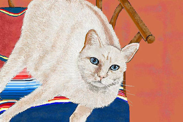 Cat Art Print featuring the digital art This Seat Is Taken by Carole Boyd
