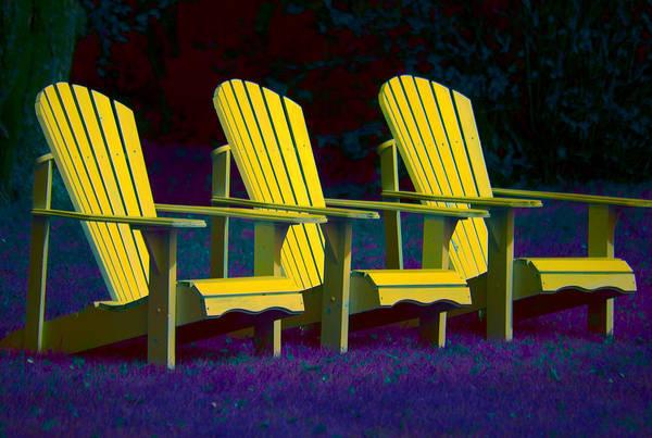 Andirondak Chairs Art Print featuring the photograph Three Old Friends by Elisabeth Van Eyken
