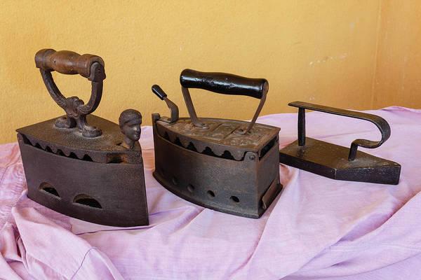 Irons Art Print featuring the photograph Three Vintage Irons by Susanna Mattioda