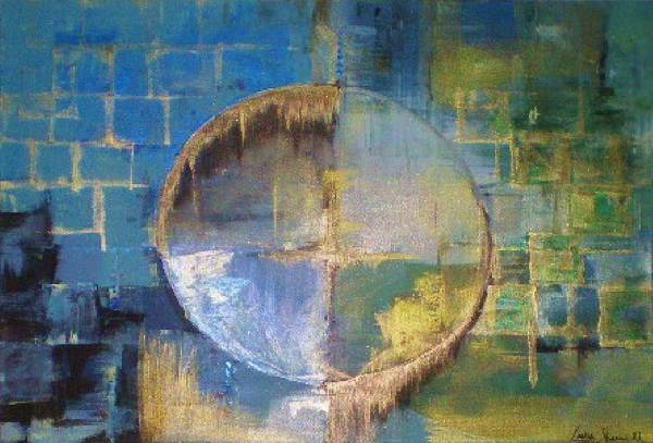 Abstract Art Print featuring the painting Through Glass I by Laura Sherrill