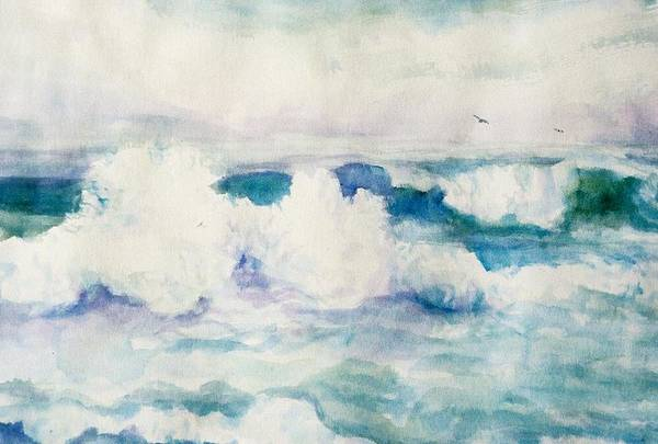 Pacific Ocean Art Print featuring the painting Thundering Breakers by Ruth Mabee