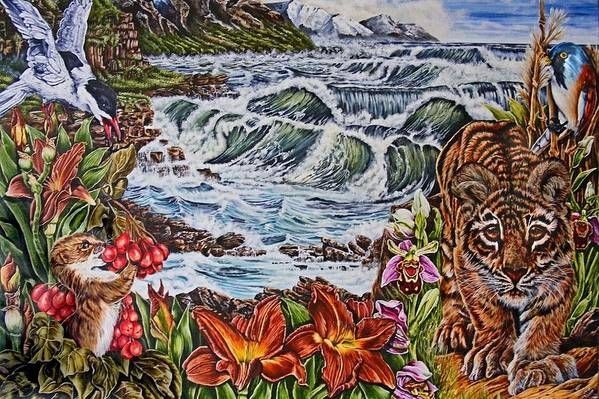 Tiger Art Print featuring the painting Tiger Walk by Donald Dean