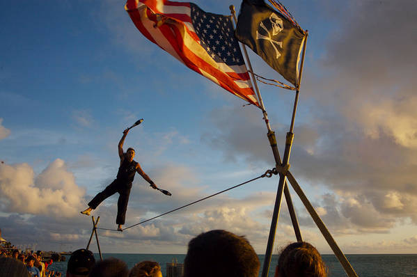 Balance Art Print featuring the photograph Tight Rope Walker In Key West by Carl Purcell