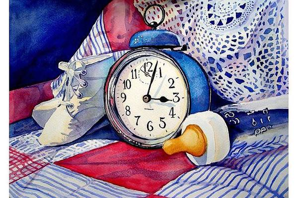 Baby Items Gift For Baby Art Print featuring the painting Time Flies by Lori Andrews