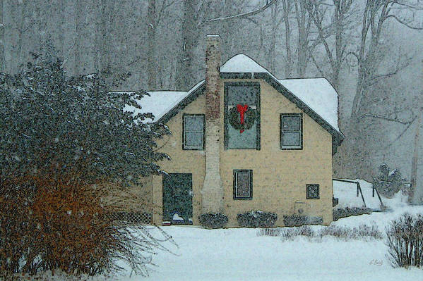 Brandywine Pennsylvania Carriage House Rural Country Snow Snowy Woodsy Kennett Square Art Print featuring the photograph Tis The Season by Gordon Beck