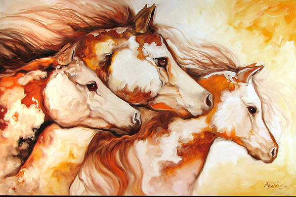 Equine Art Print featuring the painting Tobiano Horse Trio by Marcia Baldwin
