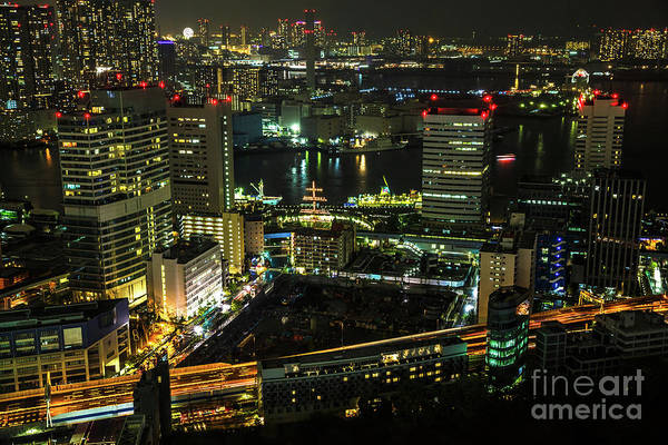 Tokyo Skyline Art Print featuring the photograph Tokyo Cityscape And Bay Area by Benny Marty