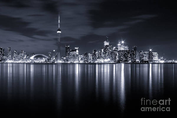 Toronto Art Print featuring the photograph Toronto Skyline Monochrome by Matt Trimble