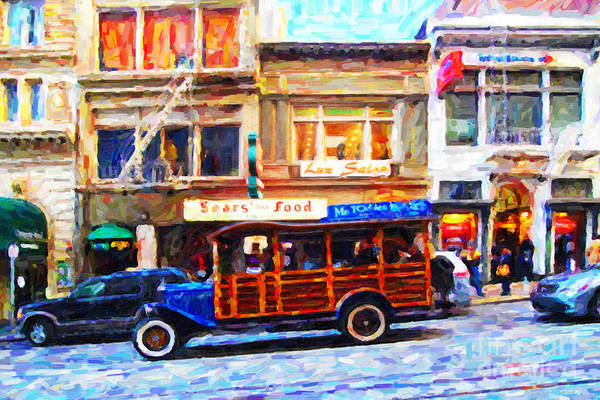 Stockton Street Art Print featuring the photograph Touring The Streets Of San Francisco . Photo Artwork by Wingsdomain Art and Photography