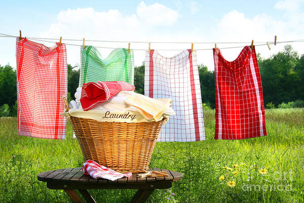 Basket Art Print featuring the digital art Towels Drying On The Clothesline by Sandra Cunningham