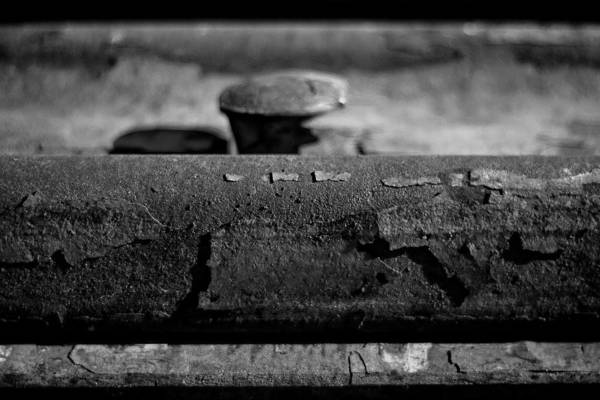 Black And White Photograph Art Print featuring the photograph Tracks And Bolts by Mike Oistad