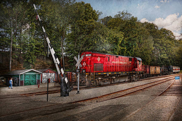Train Print featuring the photograph Train - Diesel - Look Out For The Locomotive by Mike Savad