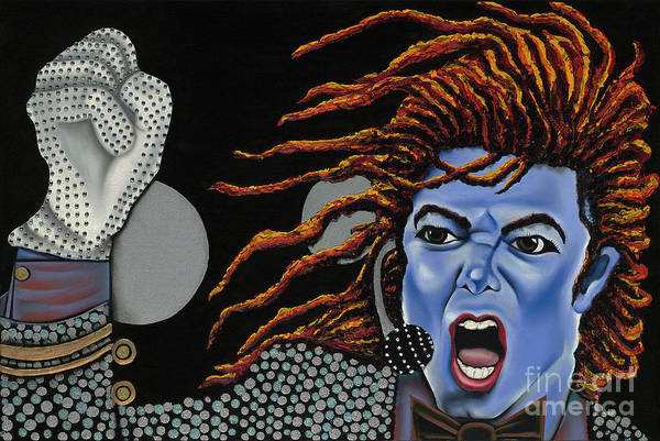 Blue Painting Art Print featuring the painting Tribute To Michael by Nannette Harris