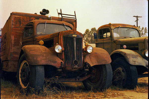 Smoke Trucks Perris Museum Military Old Texture Fire Art Print featuring the photograph Trucks Under Smoke by Lawrence Costales