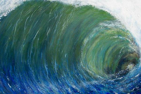 Wave Art Print featuring the painting Tube Of Water by Tony Rodriguez