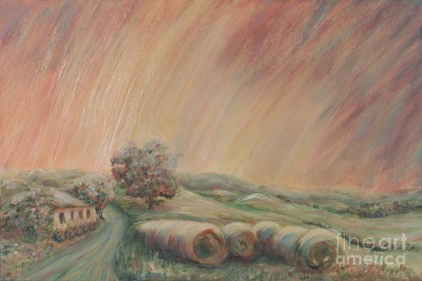 Landscape Art Print featuring the painting Tuscany Hayfields by Nadine Rippelmeyer