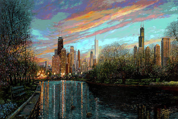 City Art Print featuring the painting Twilight Serenity II by Doug Kreuger
