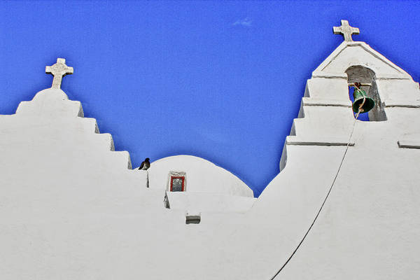 Mykonos Art Print featuring the photograph Twin Crosses by Linda Pulvermacher