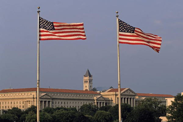 United States Of America Art Print featuring the photograph Two American Flags With Old Post Office Building by Sami Sarkis