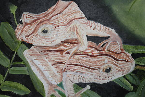 Amphibian Art Print featuring the painting Two Brown Striped Frogs by Terry Lewey