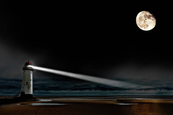 Lighthouse Art Print featuring the photograph Two Guiding Lights by Meirion Matthias