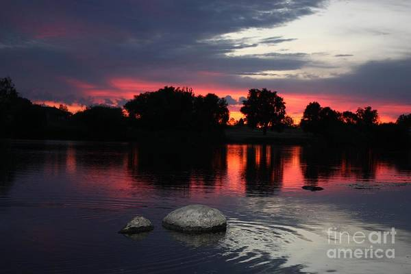 Prosser Art Print featuring the photograph Two Rocks Sunset In Prosser by Carol Groenen