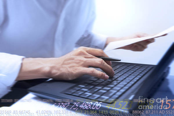 Accounting Art Print featuring the photograph Typing by Atiketta Sangasaeng