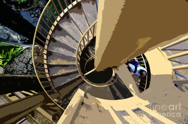 Spiral Staircase Art Print featuring the painting Up The Spiral Staircase by David Lee Thompson