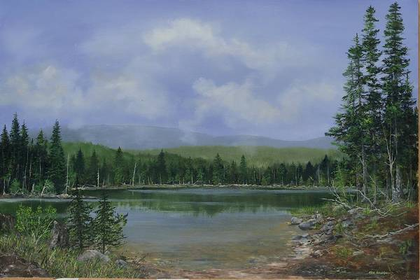 Lake Art Print featuring the painting Upland Lake by Ken Ahlering
