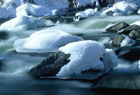 Upper Provo River Art Print featuring the photograph Upper Provo River In Winter by Dennis Hammer