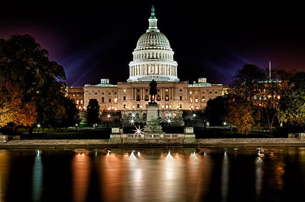 Washington Print featuring the photograph Us Capitol Building And Reflecting Pool At Fall Night 3 by Val Black Russian Tourchin